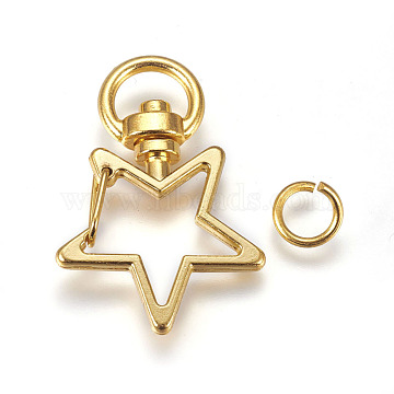 Zinc Alloy Swivel Keychain Clasp Findings, with Open Jump Rings, Star, Golden, 35x24mm, 8x1mm(X-PALLOY-WH0041-01B)