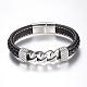 Men's Braided Leather Cord Bracelets(BJEW-H559-17C)-1