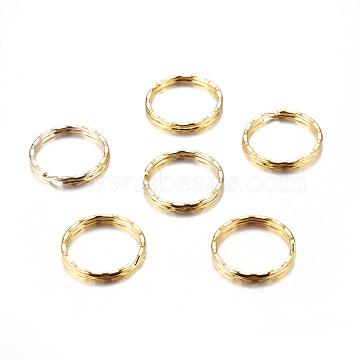 Iron Split Key Rings, Keychain Clasp Findings Golden, 25x1mm(X-E244-G)