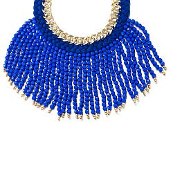"""Collier-plastron à bretelles en alliage de zinc, avec pompon de perles rondes en résine, bleu, or, 18.5"""" (47 cm)(NJEW-BB32380-G)"""