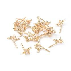 pendentifs en laiton, pour la moitié de perles percées, branches feuillues, véritable plaqué or, 18x14.5x4.5 mm, trou: 1.2 mm, pin: 1 mm; plateau: 1.5 mm, pin: 0.6 mm(KK-F808-03G)
