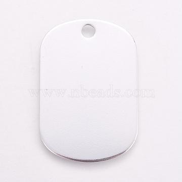Aluminium Pendants, Pet Tag, Rectangle, White, 38x25x1mm, Hole: 3.5mm(ALUM-WH0007-04B)