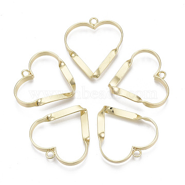 Alloy Pendants, Twisted,  Heart, Light Gold, 30x30x3.5mm, Hole: 2mm(PALLOY-S132-086)