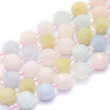 Natural Morganite Beads Strands, Round, Faceted, 8mm, Hole: 1mm, about 37pcs/Strand, 15.16 inches(38.5cm)(G-K306-A13-8mm)