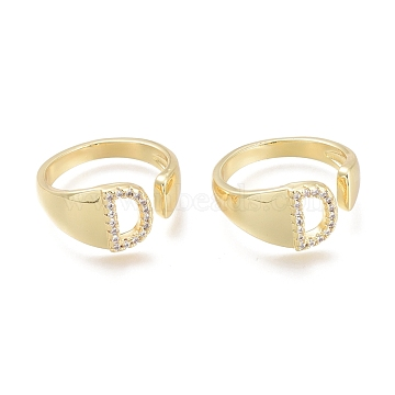 Brass Micro Pave Clear Cubic Zirconia Cuff Rings, Open Rings, Letter, Letter.D, US Size 6(16.5mm); D: 9.5x6.5mm(RJEW-F103-13D-G)