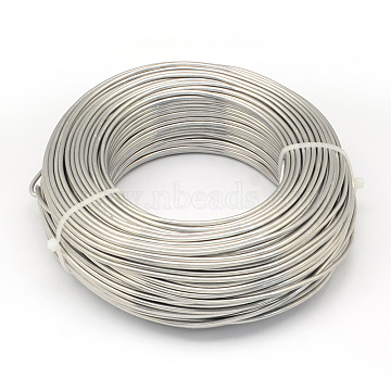 Aluminum Wire, Flexible Craft Wire, for Beading Jewelry Doll Craft Making, Light Grey, 15 Gauge, 1.5mm, 100m/500g(328 Feet/500g)(AW-S001-1.5mm-21)