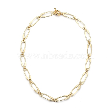 Safety Pin Shape Alloy Link Chain Necklaces(NJEW-JN02989)-1