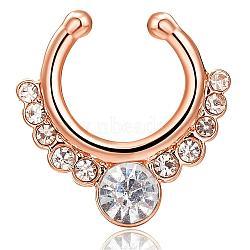 Personnalité laiton cubique goujons zircone nez nez bijoux piercing, or, clair, 17x16mm(AJEW-EE0002-001G-01)