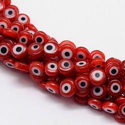 """Chapelets de perles rondes de chalumeau manuelles de mauvais œil, rouge, 6x3mm, trou: 1mm; environ 68 pcs/chapelet, 14.76""""(X-LAMP-L058-6mm-06)"""