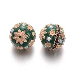 Perles rondes d'indonésie manuelles, avec des strass et des accessoires en alliage plaqué or, darkgreen, 24mm, Trou: 2mm(IPDL-L001-02D)