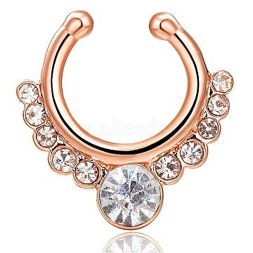 Personality Brass Cubic Zirconia Nose Studs Nose Piercing Jewelry, Golden, Clear, 17x16mm(AJEW-EE0002-001G-01)