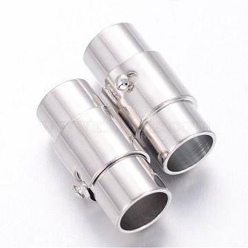 Platinum Brass Column Magnetic Clasps, 17x9mm, Hole: 6mm(X-KK-E567-P)