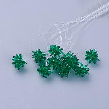 Glass Woven Beads, Flower/Sparkler, Made of Horse Eye Charms, Green, 13mm(EGLA-L014-21O)