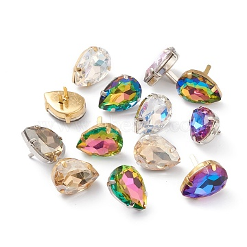 Brass Shoes Buckle Clips, with Glass Rhinestone, for Shoes Bag Decoration, Purse Hardware Accessoriess, Teardrop, Platinum & Golden, Mixed Color, 25x18x9mm(RGLA-H005-B)