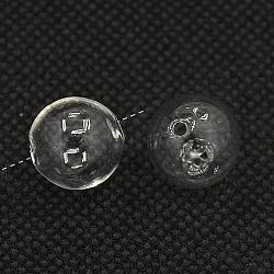 Perles de globe en verre soufflé faites à la main, rond, clair, 16mm, Trou: 5mm(BLOW-TA0001-01B)