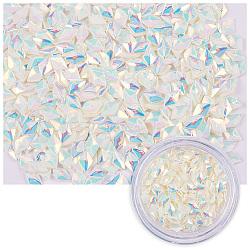 Paillettes brillantes au laser, paillettes de manucure, paillettes scintillantes diy, losange, blanc crème, 3.5x2.5x1.5mm; 1g / boîte(MRMJ-S023-004B)