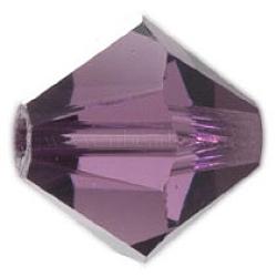 Perles de verre tchèques, facette, Toupie, pourpre, 6 mm de diamètre, Trou: 0.8mm, 144 pcs / brut(302_6mm204)