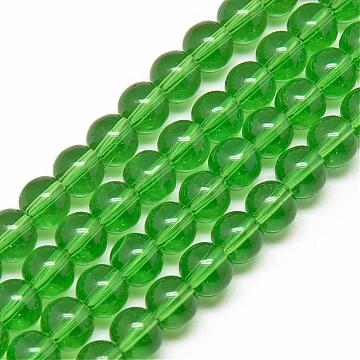 14mm LimeGreen Round Glass Beads