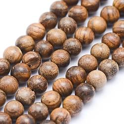 натуральные африканские бусины из дерева падаук, неокрашенными, вокруг, 8 mm, отверстия: 1 mm; о 50 шт / прядь, 15.7 (40 см)
