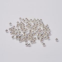 fer perles d'entretoise, argent, arrondir, sans plomb, 3.2 mm, trou: 1 mm; environ 408 pcs / 20 g(X-IFIN-A016-S)