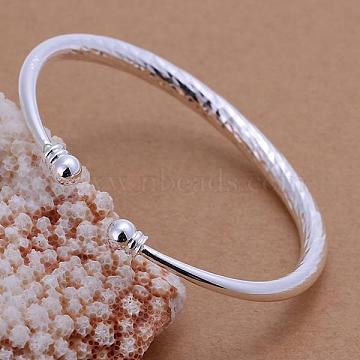 Brass Torque Bangles Cuff Bangles For Women, Silver Color Plated, 60mm(BJEW-BB12407)