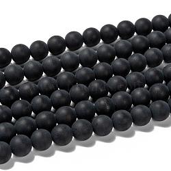 Chapelets de perles en agate noire naturelle, mat, ronde, 8mm, trou: 1mm; environ 49 pcs/chapelet, 15.7 pouces