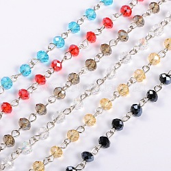 Handmade Rondelle Glass Beads Chains for Necklaces Bracelets Making, with Platinum Iron Eye Pin, Unwelded, Mixed Color, 39.3 inches, Beads: 6x4.5mm(AJEW-JB00038)