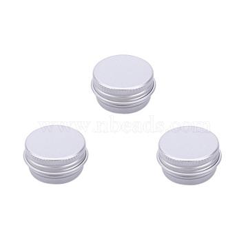 5ml Round Aluminium Tin Cans, Aluminium Jar, Storage Containers for Cosmetic, Candles, Candies, with Screw Top Lid, Platinum, 2.5x1.5cm; Capacity: 5ml(0.17 fl. oz)(CON-L009-B01)