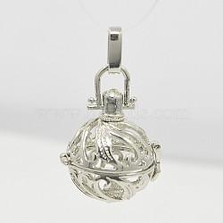 Pendentifs de cage ronde en laiton, pour faire des colliers à pendentif carillon, platine, 43.5x24.5mm, trou: 3.5x9 mm; diamètre intérieur: 18 mm(X-KK-D340-01P)