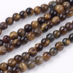 Natural Tiger Eye Round Bead Strands, 6mm, Hole: 1mm; about 62pcs/strand, 15.7inches