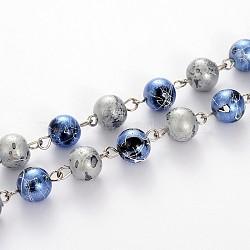 peint à la bombe verre de banc d'étirage perles rondes des chaînes à la main pour faire des colliers bracelets, avec épingle à oeil en fer, non soudée, cornflowerblue, 39.3(AJEW-JB00102-03)