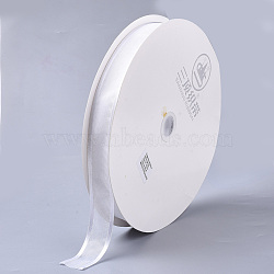 Polyester Organza Ribbon, for Gift, Party Decorate, White, 1 inch(25mm), about 100yards/roll(ORIB-Q024-25mm-01-1)