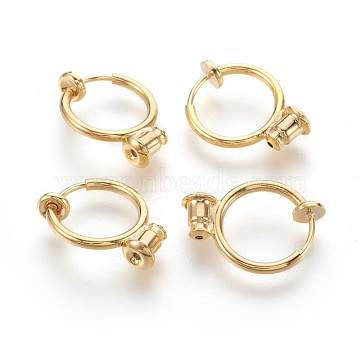 Brass Clip-on Hoop Earrings, For Non-pierced Ears, with Brass Spring Findings & Ear Nut, Cadmium Free & Lead Free, Golden, 18x13mm, Hole: 0.8mm(KK-L168-04G)