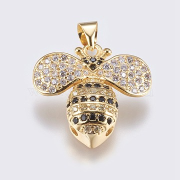 Golden Clear Bees Brass+Cubic Zirconia Pendants