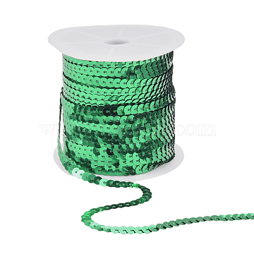PandaHall Elite AB-Color Plastic Paillette Beads, Sequins Beads, Ornament Accessories, Flat Round, Green, 6mm; about 100yards/roll(PVC-PH0001-14F)