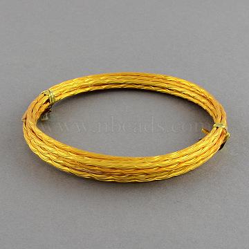 Textured Aluminum Craft Wire, Wave Pattern, Goldenrod, 12 Gauge, 2mm, 2m/roll(6.5 Feet/roll)(AW-R005-17)