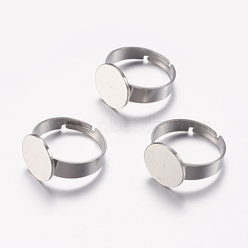 Adjustable 304 Stainless Steel Finger Rings Components, Pad Ring Base Findings, Flat Round, Stainless Steel Color, Tray: 12mm; Size 7, 17mm(STAS-I097-039P)