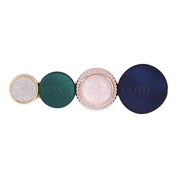 Iron Alligator Hair Clips, with Alloy and Resin Cabochons, Flat Round, Rose Gold & Light Gold, DarkBlue, 63x21mm(PHAR-I005-M02)