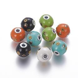 Perles d'Indonésie main, avec noyau en laiton et alliage, rondelle, or et argent, couleur mélangée, 16~17x14.5~15.5 mm, trou: 3.5 mm(IPDL-F028-12)