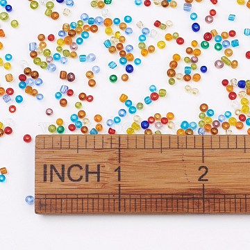 12/0 Glass Seed Beads, Transparent, Round, Mixed Color, 2~2.5x1~2mm, Hole: 0.7~1mm; about 3000pcs/50g(X-SEED-A004-2mm)