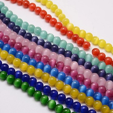 Cat Eye Beads Strands, Round, Mixed Color, 10mm, Hole: 1.5mm; about 40pcs/strand, 15.5 inches(CE-M011-10mm-M)