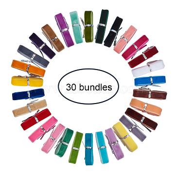 PandaHall Elite Single Face Velvet Ribbon, Mixed Color, 5/8 inch(16mm); about 1m/bundle, 1bundle/color, 30bundles/set(OCOR-PH0003-23)