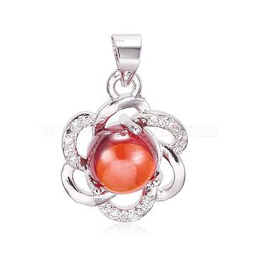 Platinum Red Flower Brass+Cubic Zirconia Pendants