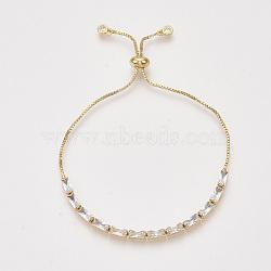bracelets réglables en laiton à zircon cubique, bracelets bolo, avec des chaînes de boîte, or, 9-1 / 2 (24 cm)(X-BJEW-S142-01A-G)