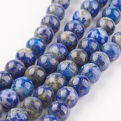 naturelles lapis-lazuli brins de perles, arrondir, 8 mm, trou: 1 mm; environ 48 perle / brin, 15.7 pouces (40 cm)