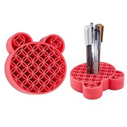 Multipurpose Silicone Storage Box, for Cosmetics Brush Holder, Pen Holder, Toothbrush Holder, Lipstick Holder, Bear, Red, 11.15x11.35x2.85cm(AJEW-WH0126-36B)