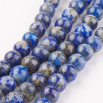 Natural Lapis Lazuli Beads Strands, Round, 8mm, Hole: 1mm; about 48pcs/strand, 15.7 inches(40cm)(X-G-G099-8mm-7A)
