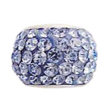 Austrian Crystal European Beads, Large Hole Beads, with 925 Sterling Silver Single Core, Rondelle, 211_Light Sapphire, 11x7.5mm, Hole: 4.5mm(N0R4T141)