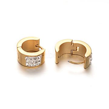 304 Stainless Steel Huggie Hoop Earrings, with Rhinestone, Golden, 14x7mm; Pin: 1mm(X-EJEW-O065-25)