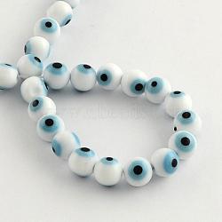 """Perles rondes vernissées de mauvais œil manuelles, cadetblue, 6mm, trou: 1mm; environ 64 pcs/chapelet, 14.1""""(X-LAMP-R114-6mm-07)"""